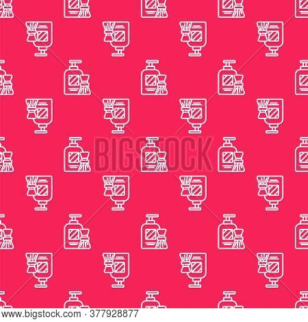 White Line Shaving Gel Foam And Brush Icon Isolated Seamless Pattern On Red Background. Shaving Crea