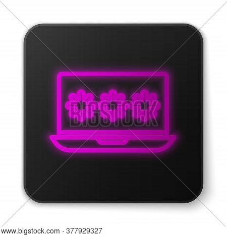 Glowing Neon Line Laptop With Password Notification Icon Isolated On White Background. Security, Per