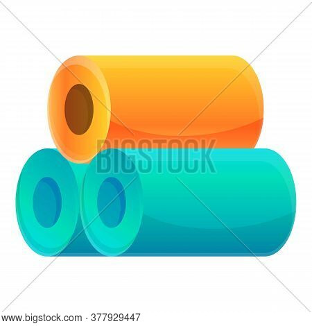 Textile Production Fiber Rolls Icon. Cartoon Of Textile Production Fiber Rolls Vector Icon For Web D