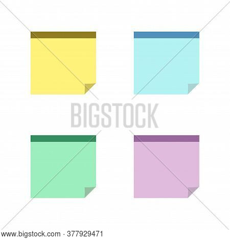 Square Sticky Notes With Shadow Curved Edge Flat Style Isolated On White Background