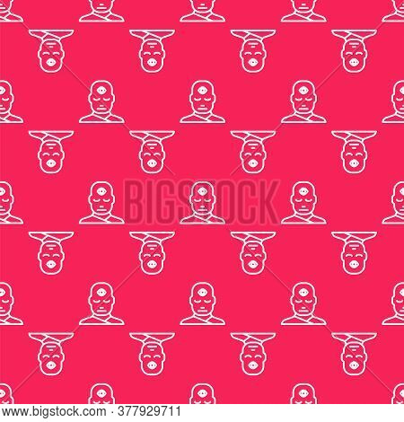White Line Man With Third Eye Icon Isolated Seamless Pattern On Red Background. The Concept Of Medit