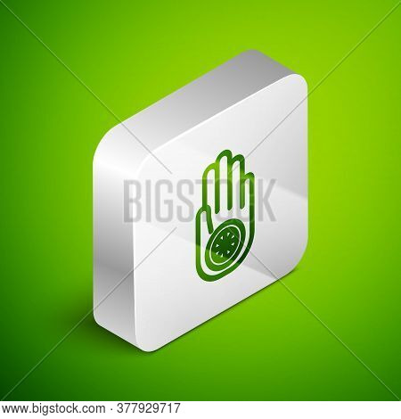 Isometric Line Symbol Of Jainism Or Jain Dharma Icon Isolated On Green Background. Religious Sign. S
