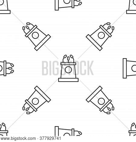 Grey Line Stage Stand Or Debate Podium Rostrum Icon Isolated Seamless Pattern On White Background. C