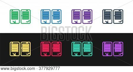 Set Line The Commandments Icon Isolated On Black And White Background. Gods Law Concept. Vector Illu