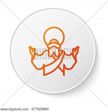 Orange Line Jesus Christ Icon Isolated On White Background. White Circle Button. Vector Illustration