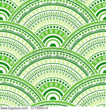 Moroccan Mandala Circles Wallpaper Design Vector Seamless Pattern. Ethnic Motifs Colorful Line Art G