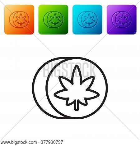 Black Line Herbal Ecstasy Tablets Icon Isolated On White Background. Set Icons In Color Square Butto