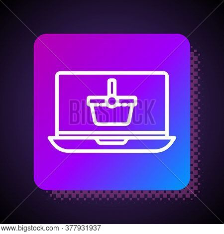 White Line Shopping Basket On Screen Laptop Icon Isolated On Black Background. Concept E-commerce, E