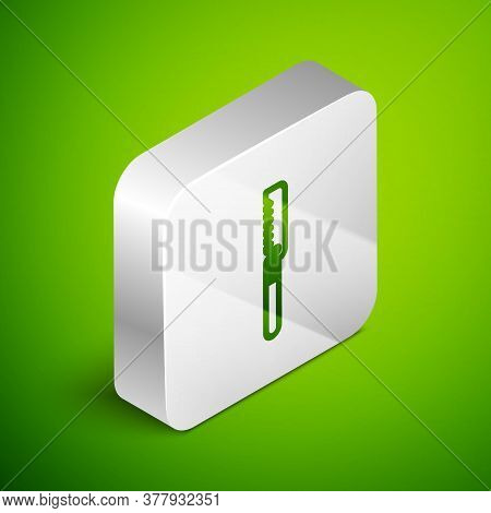 Isometric Line Medical Saw Icon Isolated On Green Background. Surgical Saw Designed For Bone Cutting
