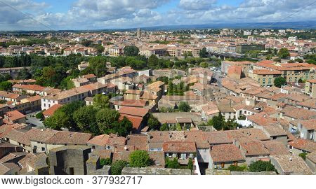 Cityscape  Panorama Of The Town Of Carcassonne  Languedoc   Roussillon France.