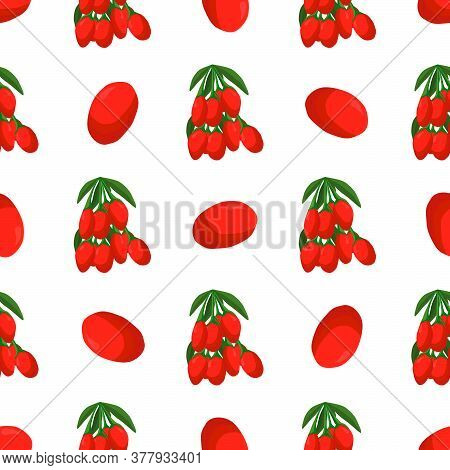 Illustration On Theme Big Colored Seamless Goji, Bright Berry Pattern For Seal. Berry Pattern Consis