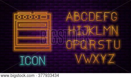 Glowing Neon Line Oven Icon Isolated On Brick Wall Background. Stove Gas Oven Sign. Neon Light Alpha
