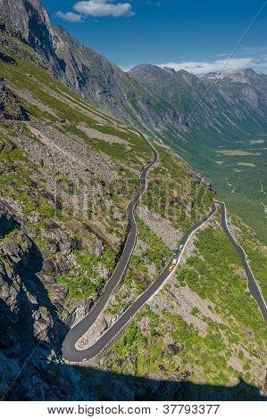 Trollstigen, Troll's Footpath, Serpentine Mountain Road In Norway