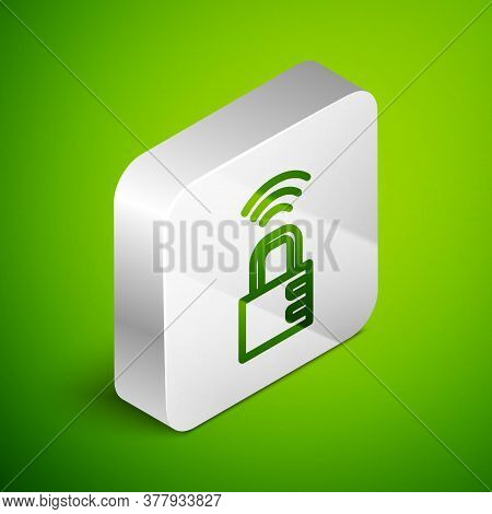 Isometric Line Smart Safe Combination Lock Icon Isolated On Green Background. Combination Padlock. S