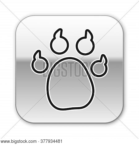 Black Line Paw Print Icon Isolated On White Background. Dog Or Cat Paw Print. Animal Track. Silver S
