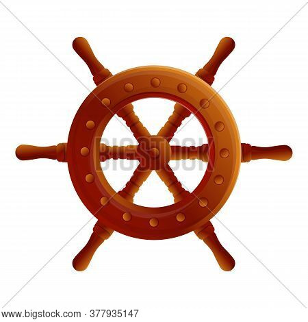 Navy Ship Wheel Icon. Cartoon Of Navy Ship Wheel Vector Icon For Web Design Isolated On White Backgr