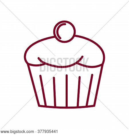 Cupcake With Cherry Vector Sketch Icon Isolated On Background. Hand Drawn Cupcake With Cherry Icon.