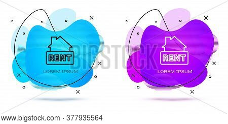Line Hanging Sign With Text Rent Icon Isolated On White Background. Signboard With Text For Rent. Ab