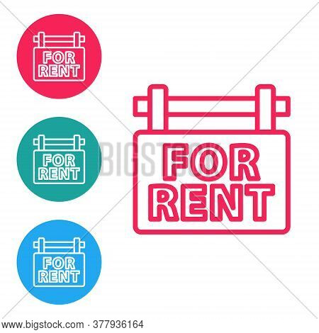 Red Line Hanging Sign With Text For Rent Icon Isolated On White Background. Signboard With Text For