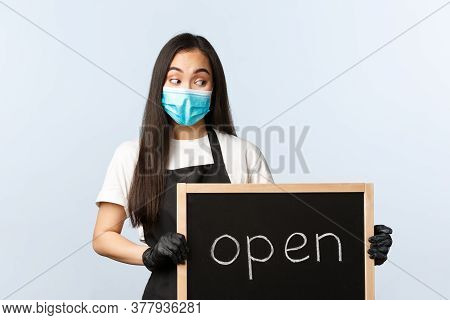 Small Business, Covid-19 Pandemic, Preventing Virus And Employees Concept. Smiling Cute Asian Female