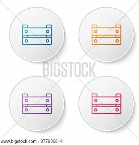 Color Line Wooden Box Icon Isolated On White Background. Grocery Basket, Storehouse Crate. Empty Woo