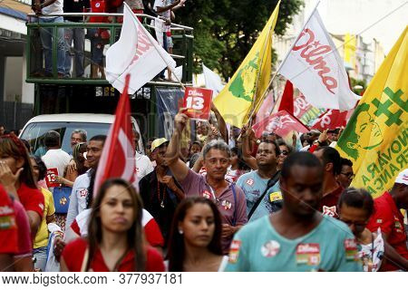 Salvador, Bahia / Brazil - October 24, 2014: Workers' Party (pt) Militants Walk In The Center Of Sal
