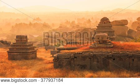 Hampi,Karnataka, India - December 31,2018: Hampi was the capital of Vijayanagara Empire in the 14th century, is also a UNESCO World Heritage Site located in east-central Karnataka, India.