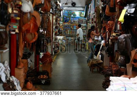 Salvador, Bahia / Brazil - May 23, 2015: Tourists Are Seen In Mercado Modelo Stores In The City Of S