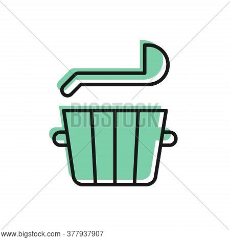 Black Line Sauna Bucket And Ladle Icon Isolated On White Background. Vector