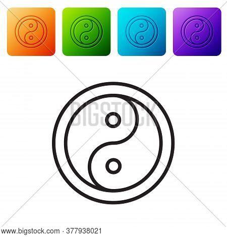 Black Line Yin Yang Symbol Of Harmony And Balance Icon Isolated On White Background. Set Icons In Co