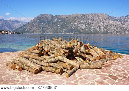 Getting Ready For The Winter. Beautiful Sunny Mediterranean Landscape, Firewood For The Fireplace On