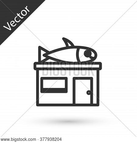 Grey Line Seafood Store Icon Isolated On White Background. Facade Of Seafood Market. Vector.