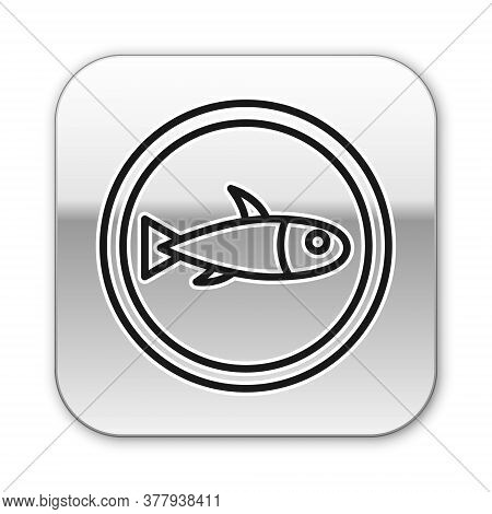 Black Line Served Fish On A Plate Icon Isolated On White Background. Silver Square Button. Vector.