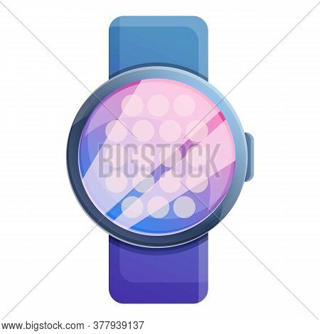 Round Smartwatch Icon. Cartoon Of Round Smartwatch Vector Icon For Web Design Isolated On White Back