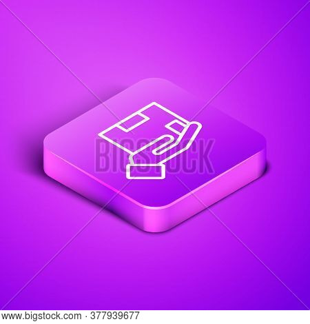 Isometric Line Delivery Insurance Icon Isolated On Purple Background. Insured Cardboard Boxes Beyond