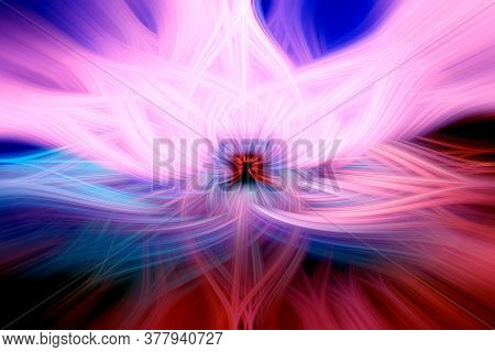 Beautiful Abstract Intertwined 3d Fibers Forming A Shape Of Sparkle, Flame Or Flower. Pink, Blue, An