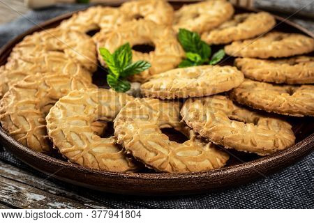 Tasty Shortbread Cookies With Honey. Selective Focus.