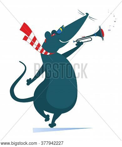 Cartoon Rat Or Mouse A Trumpeter Is Playing Music Illustration. Rat Or Mouse Playing Trumpet Isolate