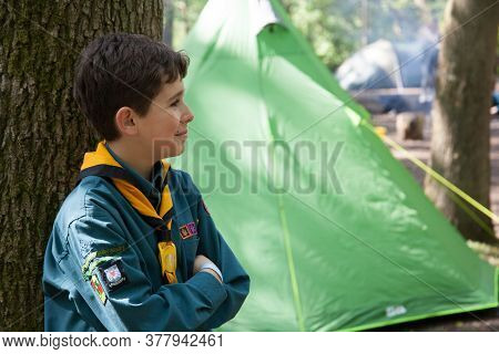 An English Boy Scout Camping In The Summer In The Uk, Taken 11th May 2019 In Oxfordshire.