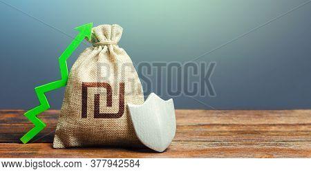 Israeli Shekel Money Bag With A Shield And A Green Arrow Up. Increasing The Maximum Amount Of Guaran