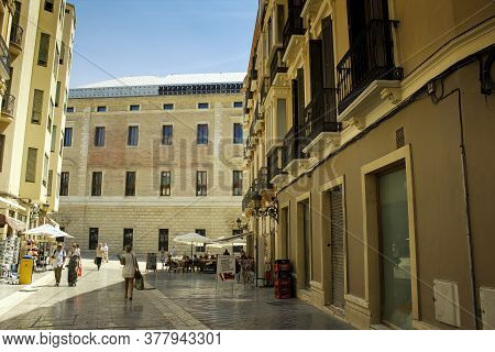 Malaga, Spain - September 03, 2015: People Doing Leisure Activities In City Center Main Square Of Ma