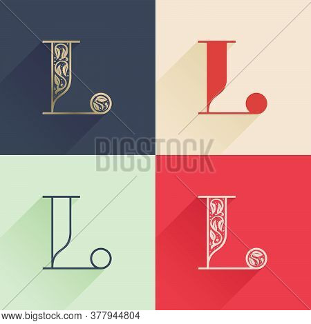 Classic L Letter Logo With Premium Decoration. Four Style Serif Font Set. Vector Icon Perfect To Use