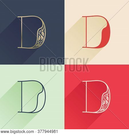 Classic D Letter Logo With Premium Decoration. Four Style Serif Font Set. Vector Icon Perfect To Use