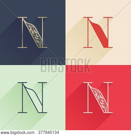 Classic N Letter Logo With Premium Decoration. Four Style Serif Font Set. Vector Icon Perfect To Use