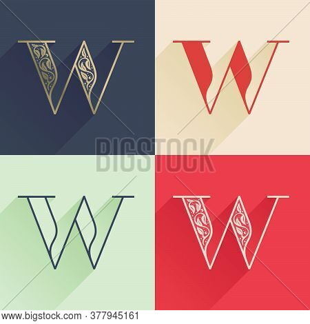 Classic W Letter Logo With Premium Decoration. Four Style Serif Font Set. Vector Icon Perfect To Use