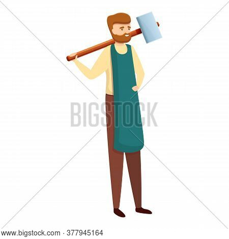 Blacksmith Industry Icon. Cartoon Of Blacksmith Industry Vector Icon For Web Design Isolated On Whit