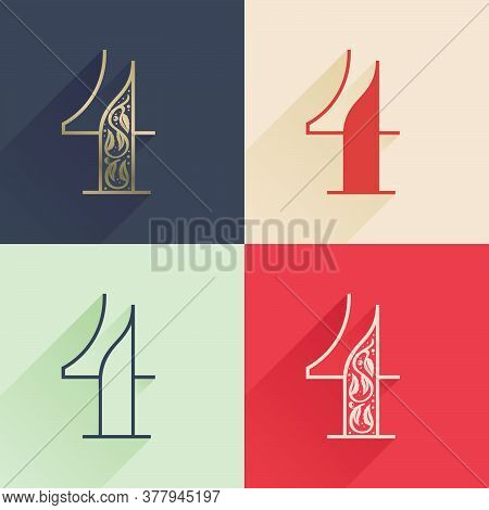Classic Number Four Logo With Premium Decoration. Four Style Serif Font Set. Vector Icon Perfect To