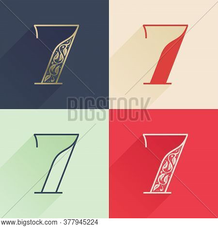 Classic Number Seven Logo With Premium Decoration. Four Style Serif Font Set. Vector Icon Perfect To