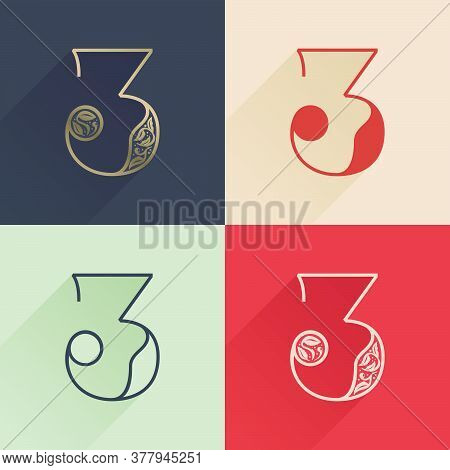 Classic Number Three Logo With Premium Decoration. Four Style Serif Font Set. Vector Icon Perfect To