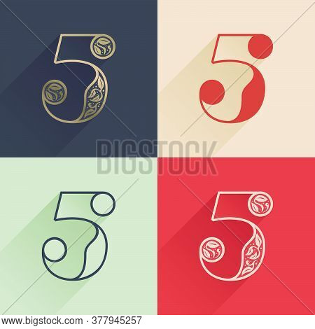 Classic Number Five Logo With Premium Decoration. Four Style Serif Font Set. Vector Icon Perfect To
